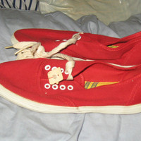 Vintage red canvas tennis shoes sneakers new vintage size 5