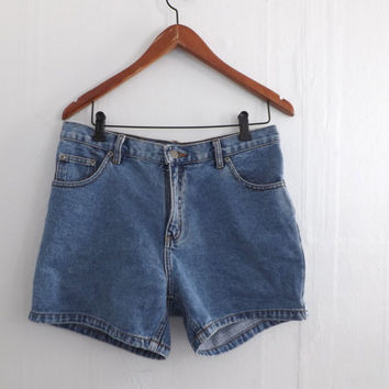 Size 9 Vintage Basic 1990s Sonoma High Waist Boy Fit Blue Denim Jean Shorts Medium Short Shorts Western Cowgirl Daisy Dukes Grunge Hipster
