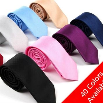 Fashion Casual Slim Tie Men's Solid Color Skinny Necktie Formal Wedding Party Ties For Men