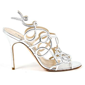 Manolo Blahnik Womens Cut Out Sandal GORI OS LAMIN 3915
