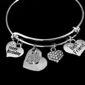 Best Friend Happy 40th Birthday Adjustable Charm Bracelet Forty Expandable Silver Bangle One Size Fits All Gift