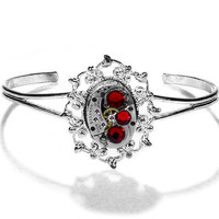 Steampunk Jewelry Cuff Bracelet Women's Vintage ELGIN Watch Silver Filigree Red Crystal Wedding Anniversary - Jewelry by Steampunk Boutique