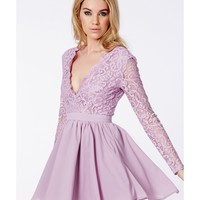 Missguided - Dayana Lilac Lace Sleeve Puff Ball Dress