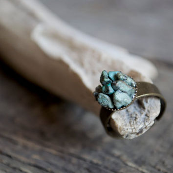 African turquoise ring // Raw stone ring, mineral ring, jasper ring, turquoise jasper ring, statement ring rough cut, tiny mountains
