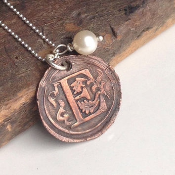 Etsy, Etsy Jewelry, Copper Metal Clay, E Initial, Monogram Necklace, E Necklace, Old World Style, Edwardian Style, Sterling Silver