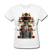 2017 New Fashion Women's Eternal Roses Printed T shirt popular Tops Novelty Lady Casual Short Sleeve Tees