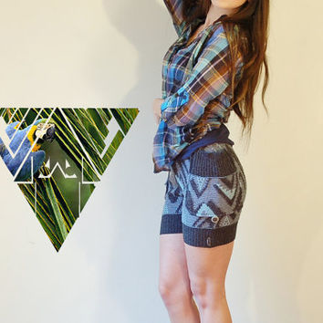 tribal ikat 80s navajo print blue pinup high waisted button up shorts  by myHOMEBYTHESEA