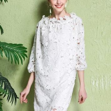 Elegant Straight Three-Quarter Sleeve Ankle-Length Women's Lace Dress