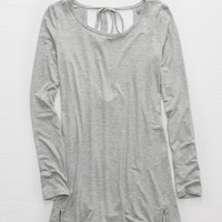 Aerie Tie Back Tee, Heather Gray