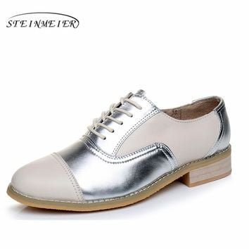 women leather flats woman vintage flat shoes round toe large size us11 handmade beige silver 2017 oxford shoes for women fur
