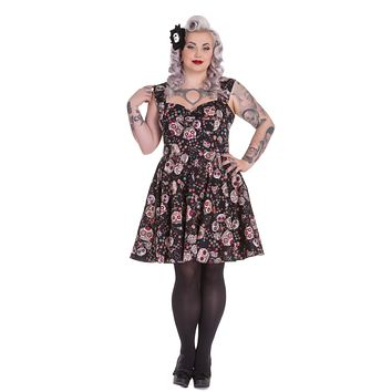 Hell Bunny Calavera Day of the Dead Flower Sugar Skull Black Party Dress