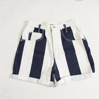 Vintage 1990s Shorts - Striped Denim Blue & White High Waisted 90s - Medium / Small