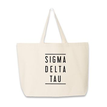 Sorority Name with Double Lines Tote Bag - All 26 NPC Organizations Available