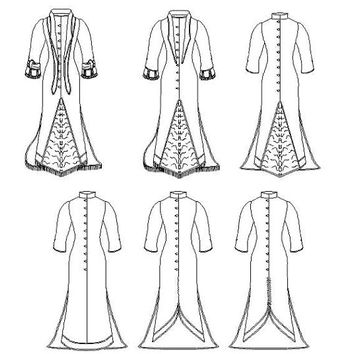 Wedding Dress Pattern: Victorian Dress Multi Size Sewing Pattern - 1880-14