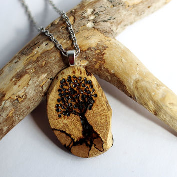 Wooden  Tree of Life Necklace Wood Burned Pendant Reclaimed Oak Branch Eco Friendly Sustainable Jewelry by Hendywood