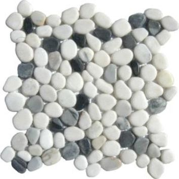 MS International Black/White Pebbles 12 in. x 12 in. x 10 mm Marble Mesh-Mounted Mosaic Tile THDW1-SH-PEB at The Home Depot - Mobile