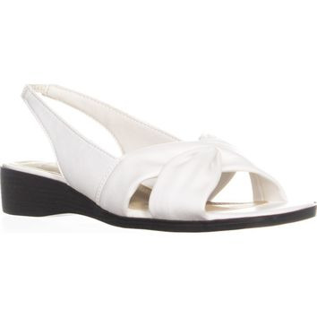 LifeStride Mimosa Criss Cross Wedge Sandals, White Duncan, 7.5 W US