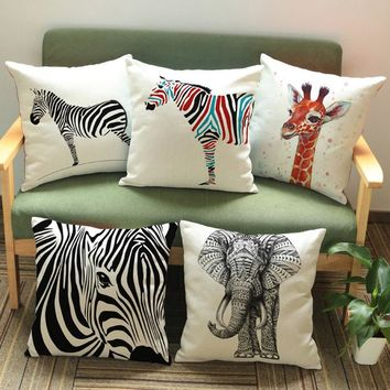 African Animals Print Pillowcase Elephant Zebra Giraffe Living Room Decoration Sofa Cushion Cover Tropical Animals Pillow Cover