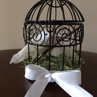 Wedding Favor Centerpiece- Blissful Dove Birdcage (2 White Doves)
