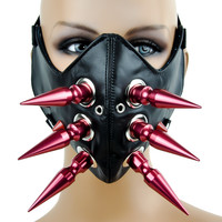 """3"""" Red Spike Motorcycle Riding Mask Biker Cosplay"""