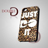 Nike Just Do It Leopard - iPhone 4/4s/5 Case - Samsung Galaxy S3/S4 Case - Black or White