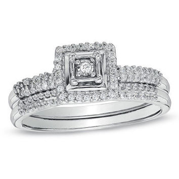 1/3 CT. T.W. Diamond Square Frame Bridal Set in 10K White Gold - Save on Select Styles - Zales