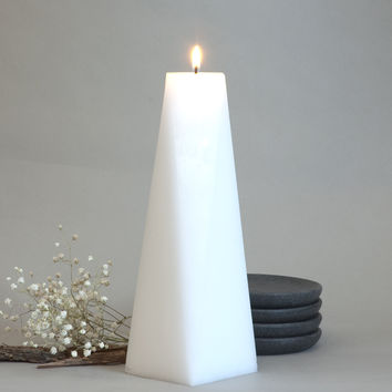 "White Pillar Candle Octagon 9"" tall"