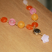Pink Quartz and Orange Bead Necklace, Gemstone Necklace, Layering Necklace