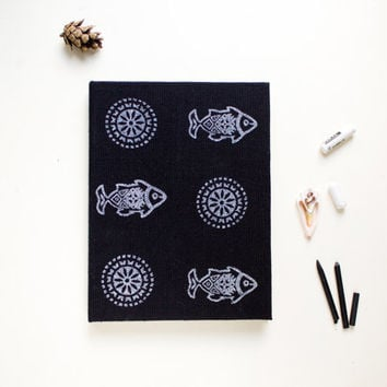 Black journal, handmade notebook, handmade paper sheets, black white, pattern, unique gift