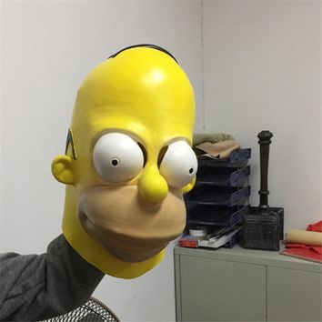 Homer Simpsons Latex Masks Simpson Props Funny Cosplay Mask Halloween Cosplay Fancy Party Full Face adult Carnival Prop Dress