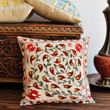 Uzbek Suzani Pillow - Vintage Hand Embroidered Pillow Cover, 18 x 18 inch, Ethnic Decorative Pillow