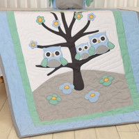 Owl Baby Blanket Woodland Quilt Forest Crib Bedding,  Owl Nursery Decor