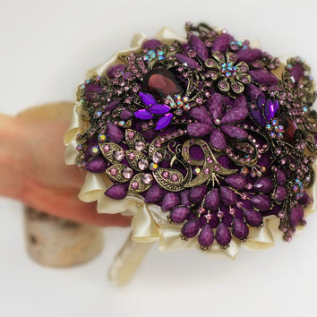 Wedding bouquet, Brooch bouquet, Bridal bouquet, wedding brooch, bridesmaids bouquets, wedding decor, wedding flowers, blue brooch bouquet