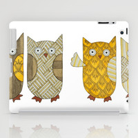 4 Gold Owls iPad Case by Erin Brie Art