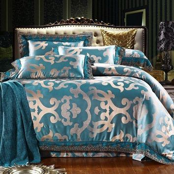 Luxury 6pc. Teal & Silver Embroidered Queen Tribute Silk Duvet Cover Bedding Set