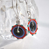 Black, Red & Blue Disc Earrings, Lampwork Glass Earrings, Flat Disc Earrings on Sterling Silver Earwires