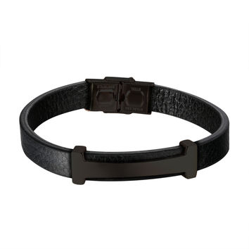 Luxury H Design Bracelet Black Leather Wristband Stainless Steel Custom Style 8.0""