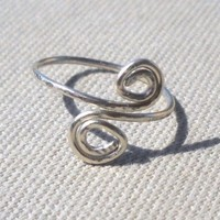 Hammered Silver Wire Spiral Ring Adjustable Size