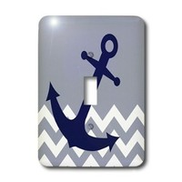 3dRose lsp_165790_1 Blue Nautical Boat Anchor on Chevron Pattern Light Switch Cover