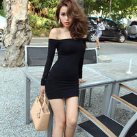 Hot Black Sexy Boat Neck Off Shoulder Cocktail Clubwear Party Bodycon Mini Dress