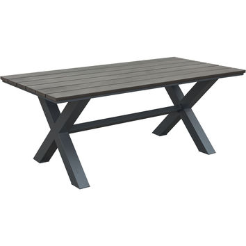Bodega Outdoor Dining Table, Industrial Gray & Brown