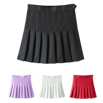 Sexy Women High Waist A-Line Pleated Skirt Tennis Solid Mini Skirt W_C [4905491716]