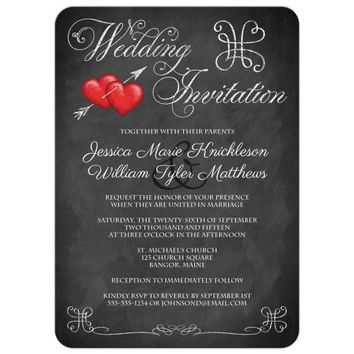 Wedding Invitation | Romantic Red Hearts on Faux Chalkboard