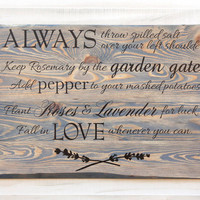 Custom Personalized rustic wood sign wall art Extra Large Size. 6 stain colors.  Family Quote Bible Verse Wedding Cottage Country Chic Decor