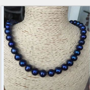 Tahitian Black Blue Pearl Necklace