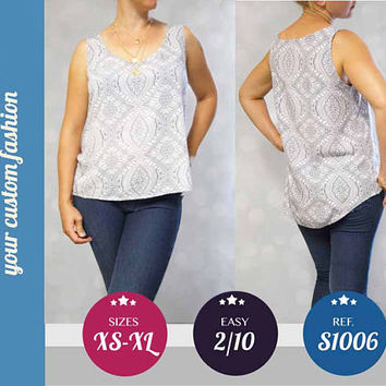 Tank top for women easy pdf sewing pattern with step by step sewing tutorial (easy/beginners) XS/S/M/L/XL