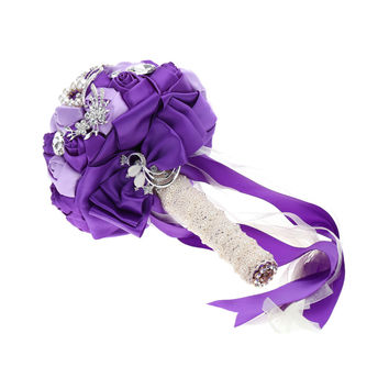 Hand Made Ivory Satin Roses Bright Diamond Flower Salable Product for Bride Bouquet with Artificial Crystal Bridesmaid Flowers White/Purple Valentines Gift