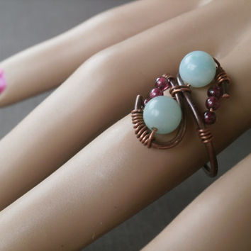 Wire Wrapped Ring. Statement Ring. Gemstone Ring. Amazonite Ring. Garnet Ring. OOAK Artisan. Copper Jewelry. Blue and Brown Jewelry Under 20