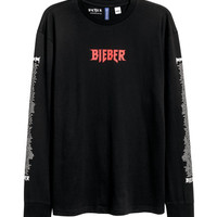 Long-sleeved Printed T-shirt - from H&M