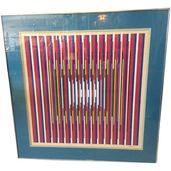 Rare Yaacov Agam Signed Serigraph Optical Kinetic Art